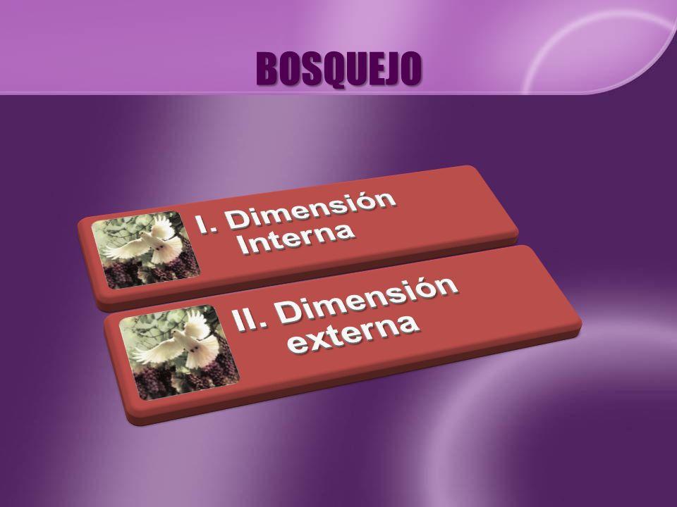BOSQUEJO I. Dimensión Interna II. Dimensión externa