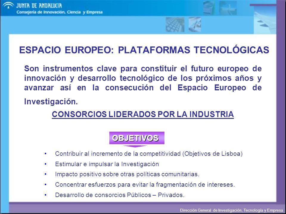 ESPACIO EUROPEO: PLATAFORMAS TECNOLÓGICAS
