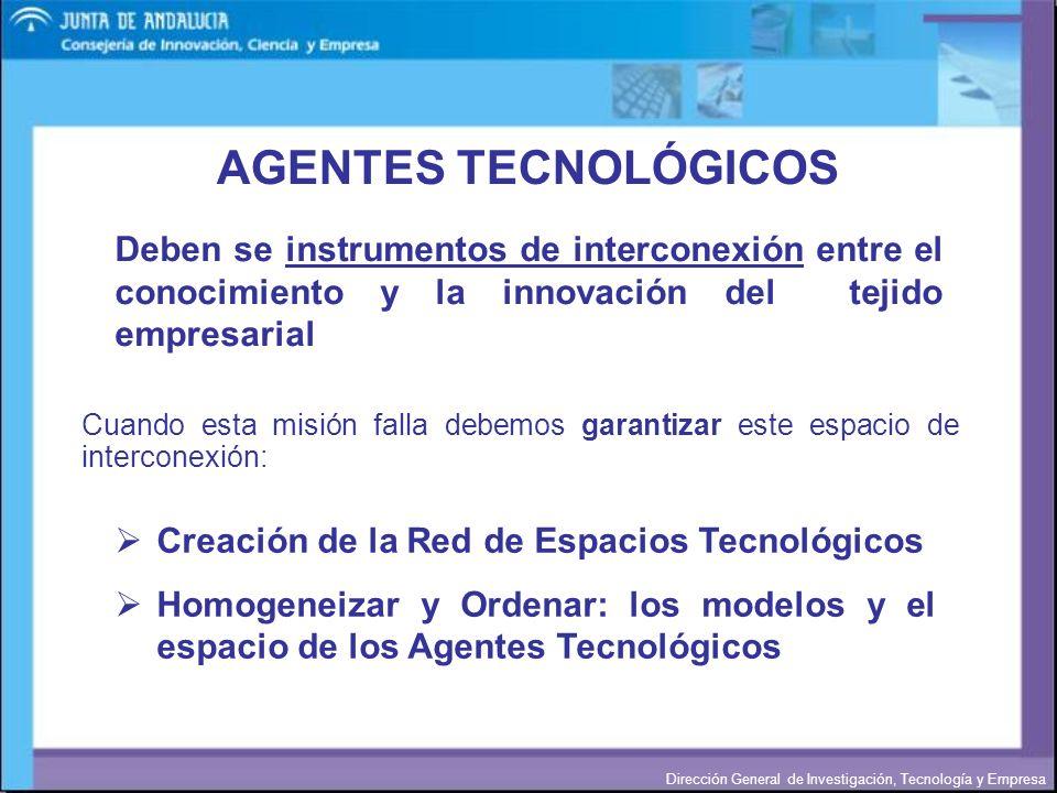 AGENTES TECNOLÓGICOS Deben se instrumentos de interconexión entre el conocimiento y la innovación del tejido empresarial.