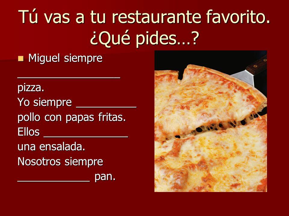 Tú vas a tu restaurante favorito. ¿Qué pides…