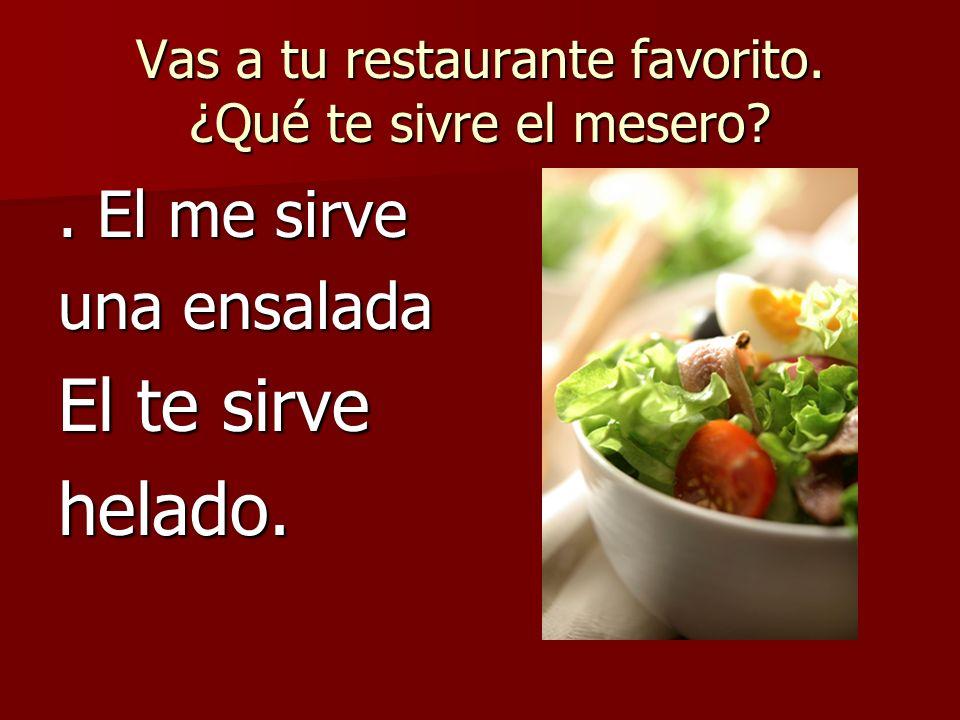 Vas a tu restaurante favorito. ¿Qué te sivre el mesero