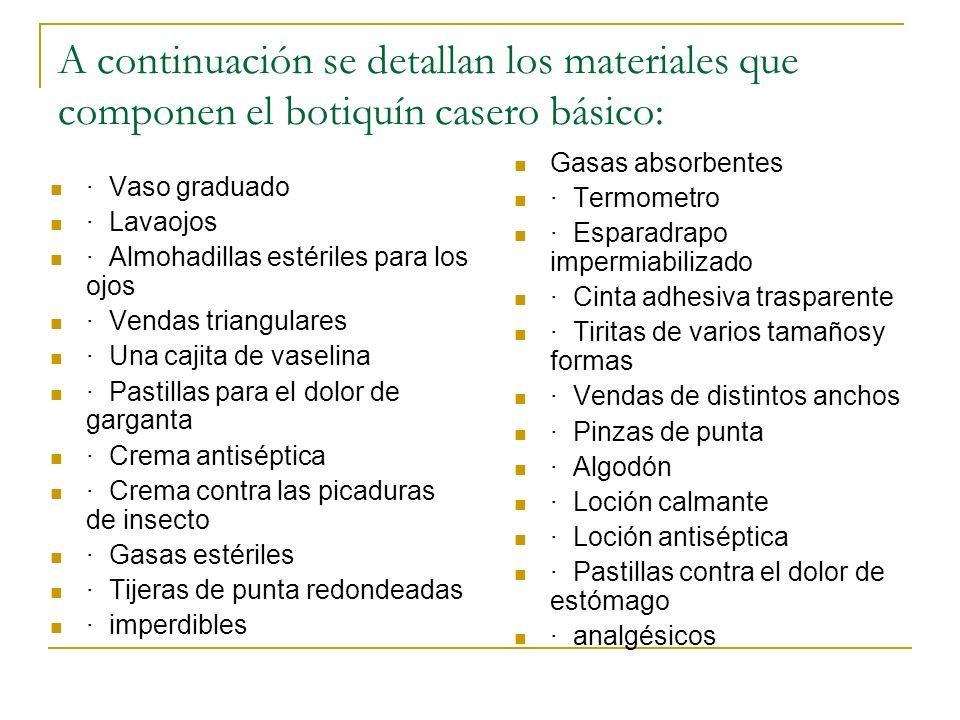 A continuación se detallan los materiales que componen el botiquín casero básico: