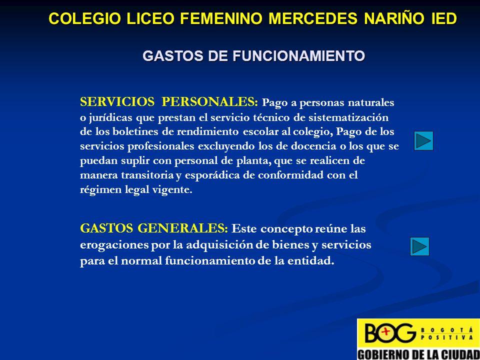 GASTOS DE FUNCIONAMIENTO