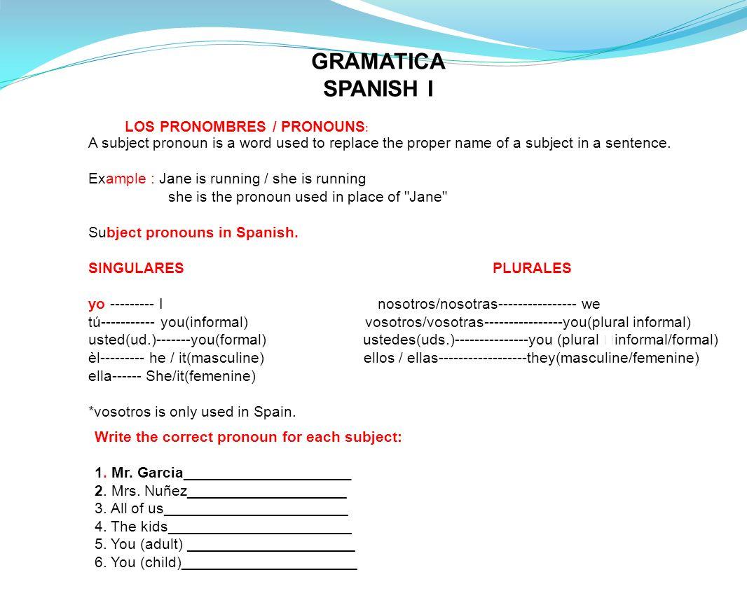 GRAMATICA SPANISH I LOS PRONOMBRES / PRONOUNS: