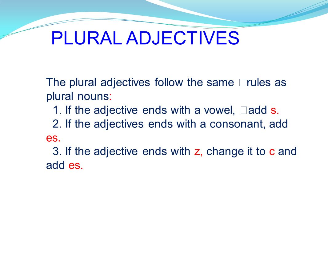 PLURAL ADJECTIVES The plural adjectives follow the same rules as plural nouns: 1. If the adjective ends with a vowel, add s.