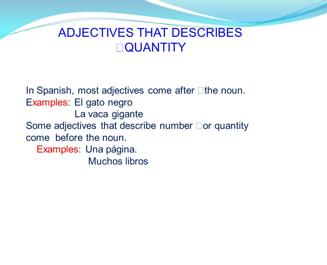 ADJECTIVES THAT DESCRIBES QUANTITY