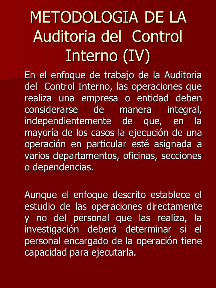 METODOLOGIA DE LA Auditoria del Control Interno (IV)