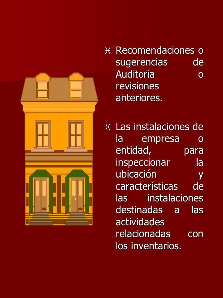 Recomendaciones o sugerencias de Auditoria o revisiones anteriores.