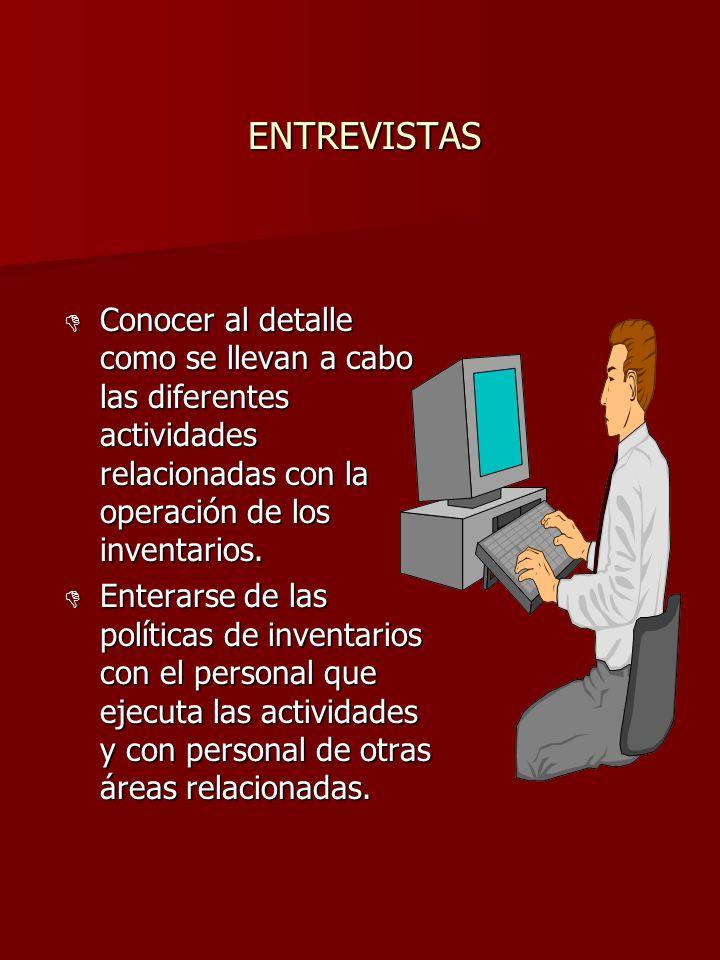 ENTREVISTAS Conocer al detalle como se llevan a cabo las diferentes actividades relacionadas con la operación de los inventarios.
