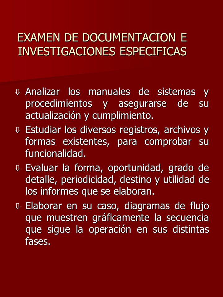 EXAMEN DE DOCUMENTACION E INVESTIGACIONES ESPECIFICAS