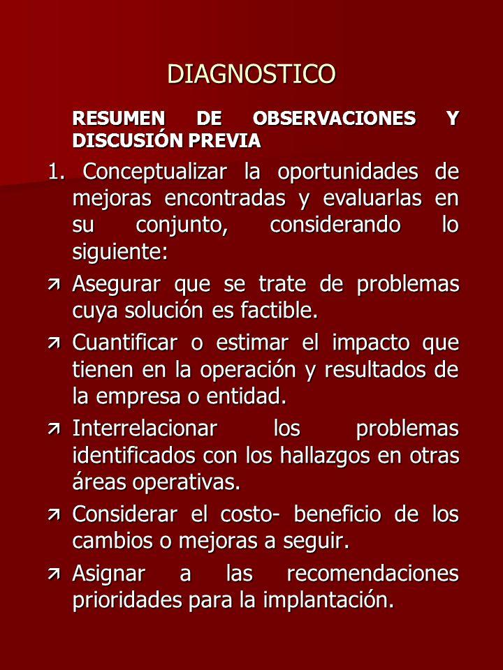 DIAGNOSTICO RESUMEN DE OBSERVACIONES Y DISCUSIÓN PREVIA.