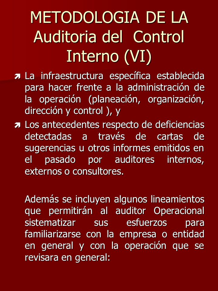 METODOLOGIA DE LA Auditoria del Control Interno (VI)