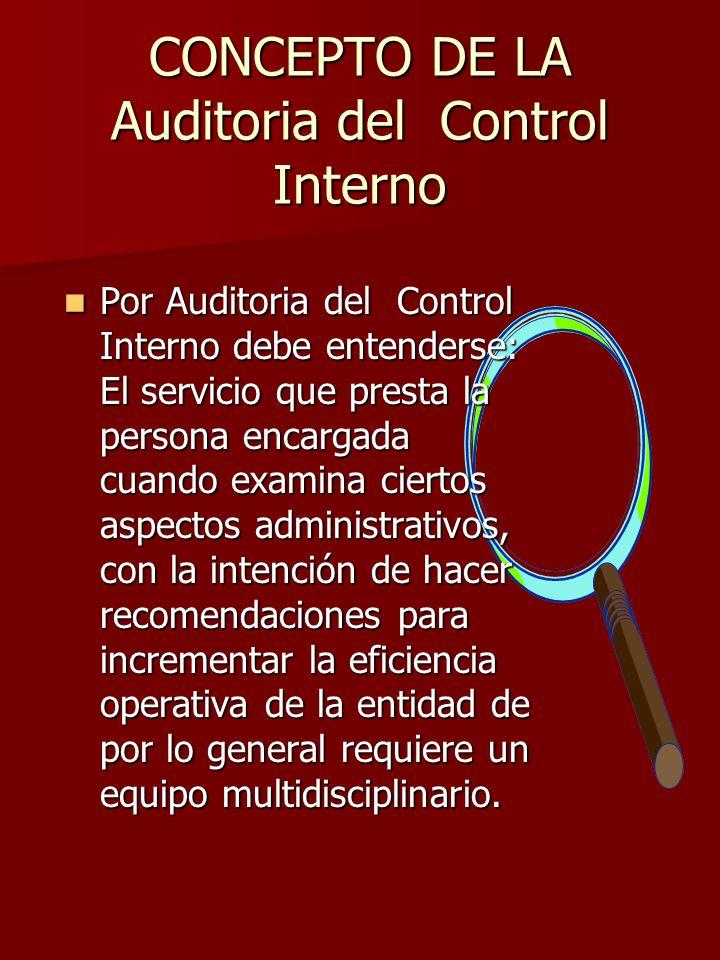 CONCEPTO DE LA Auditoria del Control Interno