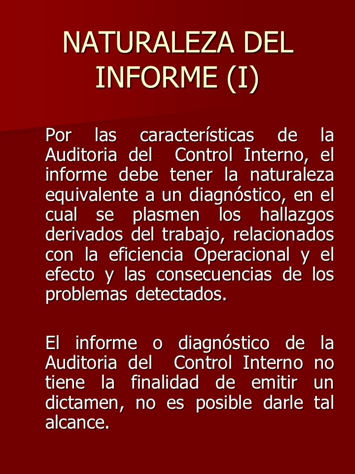 NATURALEZA DEL INFORME (I)