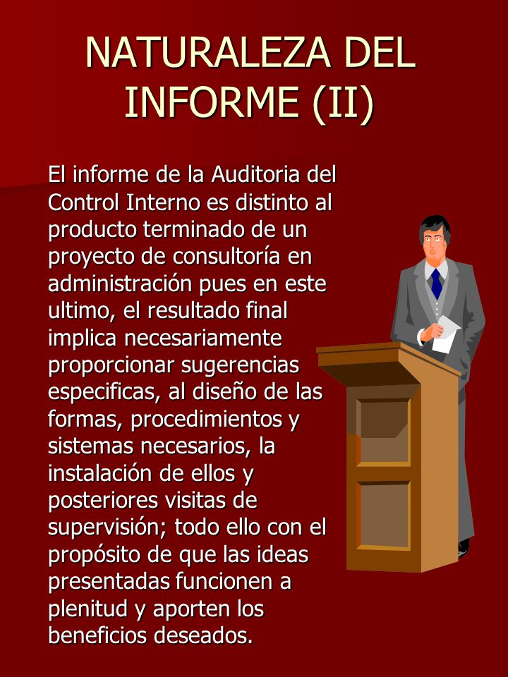 NATURALEZA DEL INFORME (II)