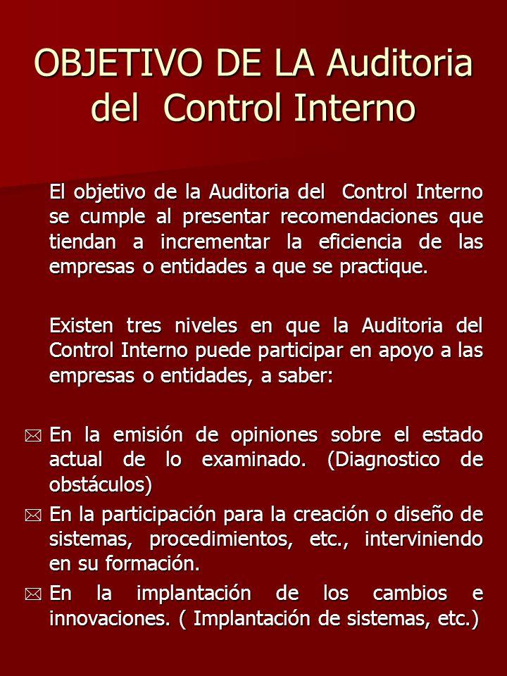 OBJETIVO DE LA Auditoria del Control Interno