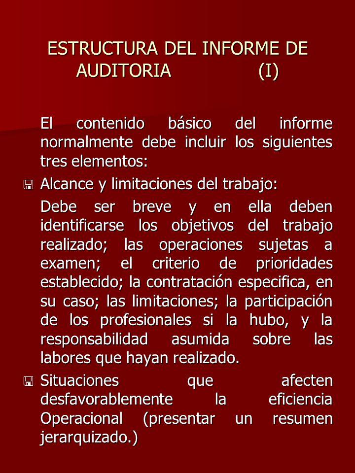 ESTRUCTURA DEL INFORME DE AUDITORIA (I)