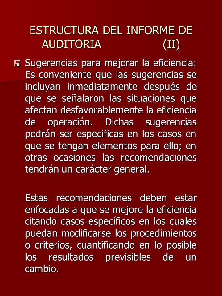 ESTRUCTURA DEL INFORME DE AUDITORIA (II)
