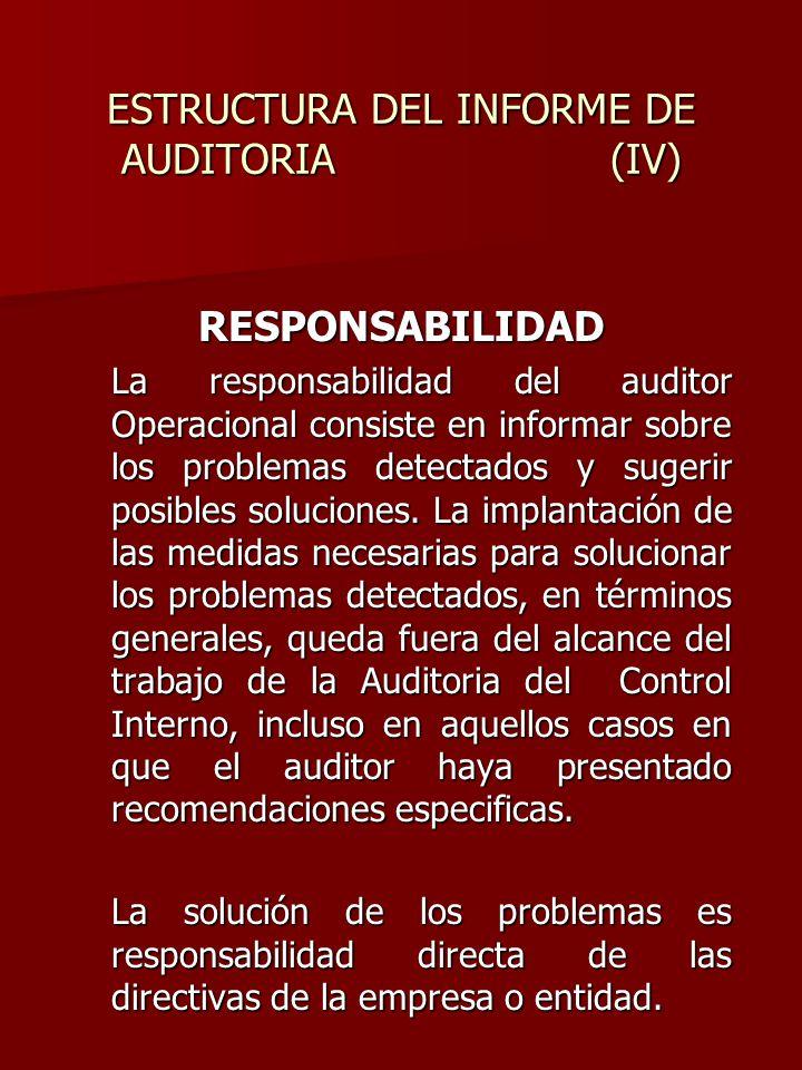 ESTRUCTURA DEL INFORME DE AUDITORIA (IV)