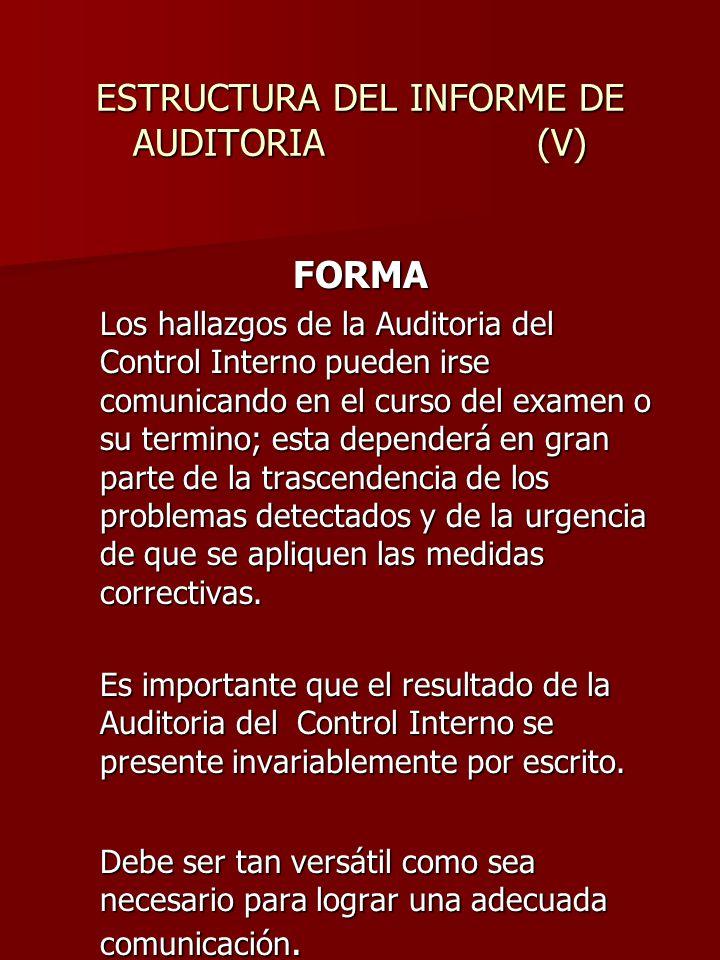 ESTRUCTURA DEL INFORME DE AUDITORIA (V)