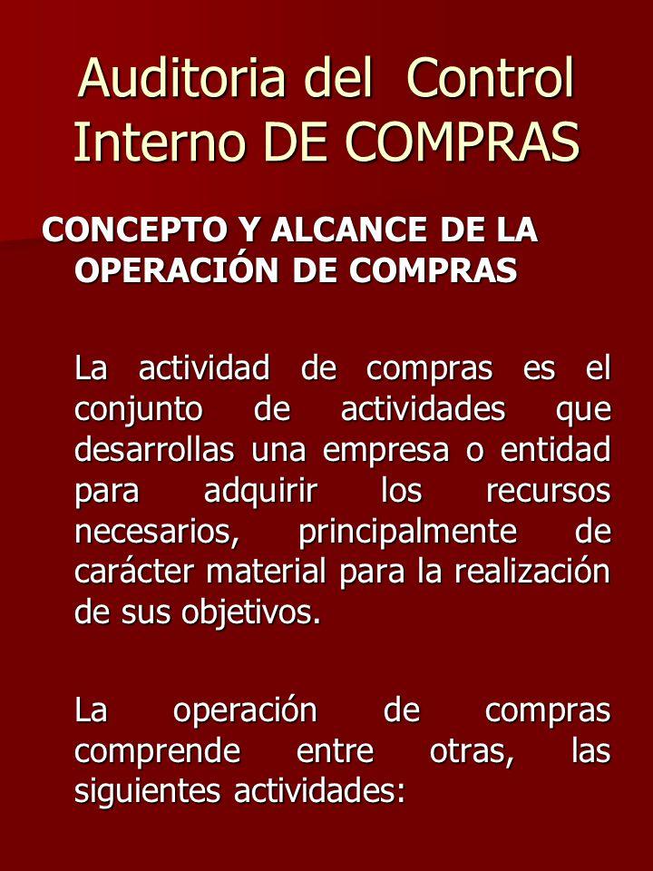 Auditoria del Control Interno DE COMPRAS