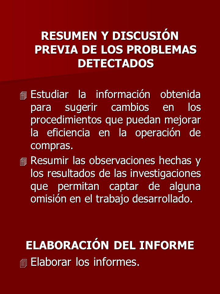 RESUMEN Y DISCUSIÓN PREVIA DE LOS PROBLEMAS DETECTADOS