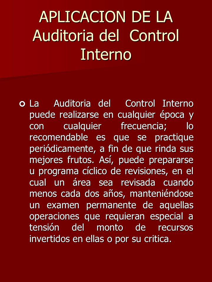 APLICACION DE LA Auditoria del Control Interno