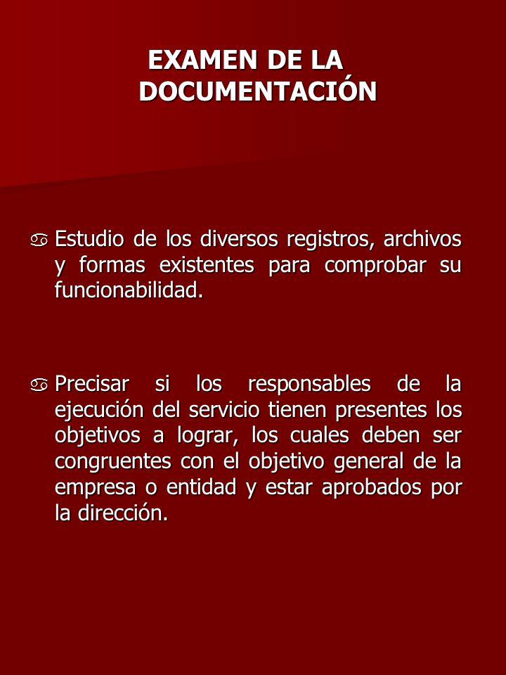 EXAMEN DE LA DOCUMENTACIÓN