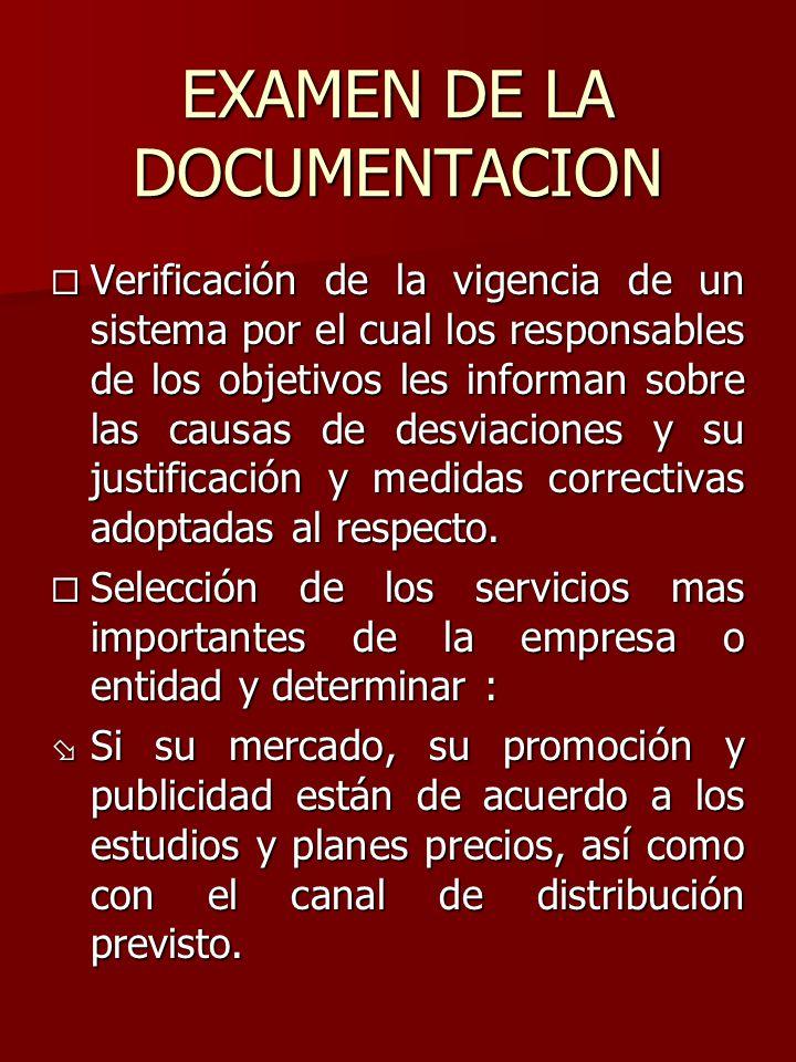 EXAMEN DE LA DOCUMENTACION
