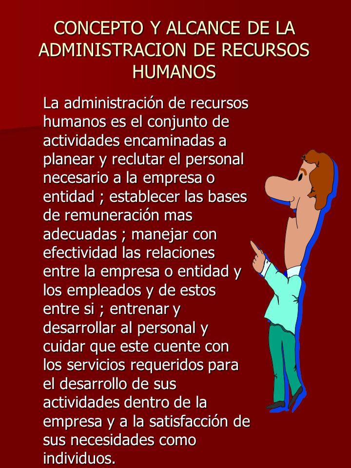 CONCEPTO Y ALCANCE DE LA ADMINISTRACION DE RECURSOS HUMANOS