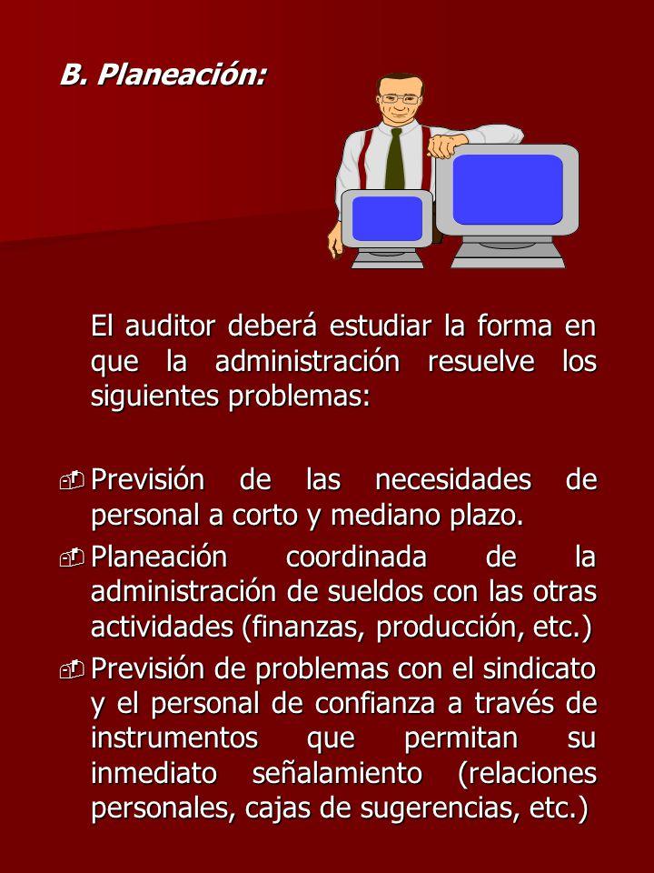 B. Planeación: El auditor deberá estudiar la forma en que la administración resuelve los siguientes problemas: