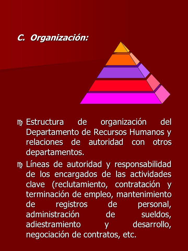C. Organización: Estructura de organización del Departamento de Recursos Humanos y relaciones de autoridad con otros departamentos.