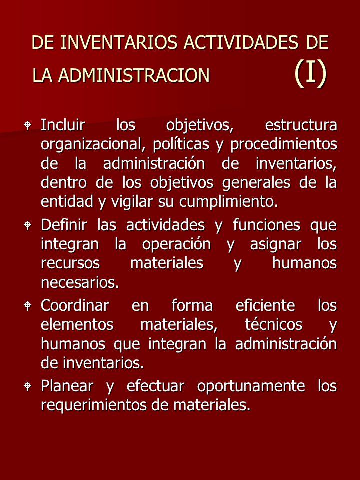DE INVENTARIOS ACTIVIDADES DE LA ADMINISTRACION (I)