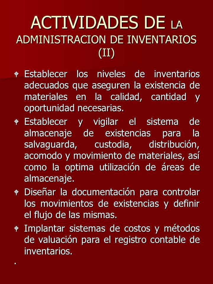 ACTIVIDADES DE LA ADMINISTRACION DE INVENTARIOS (II)