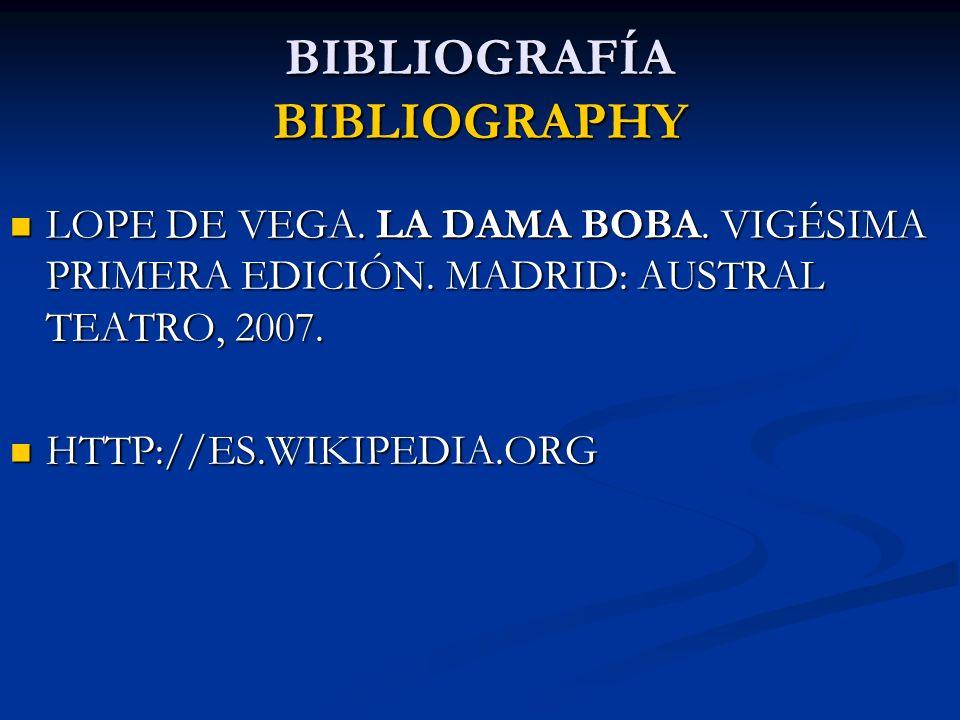 BIBLIOGRAFÍA BIBLIOGRAPHY