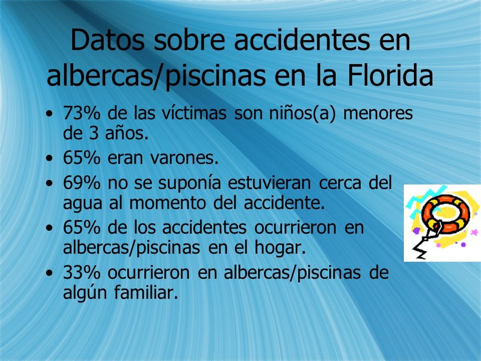Datos sobre accidentes en albercas/piscinas en la Florida