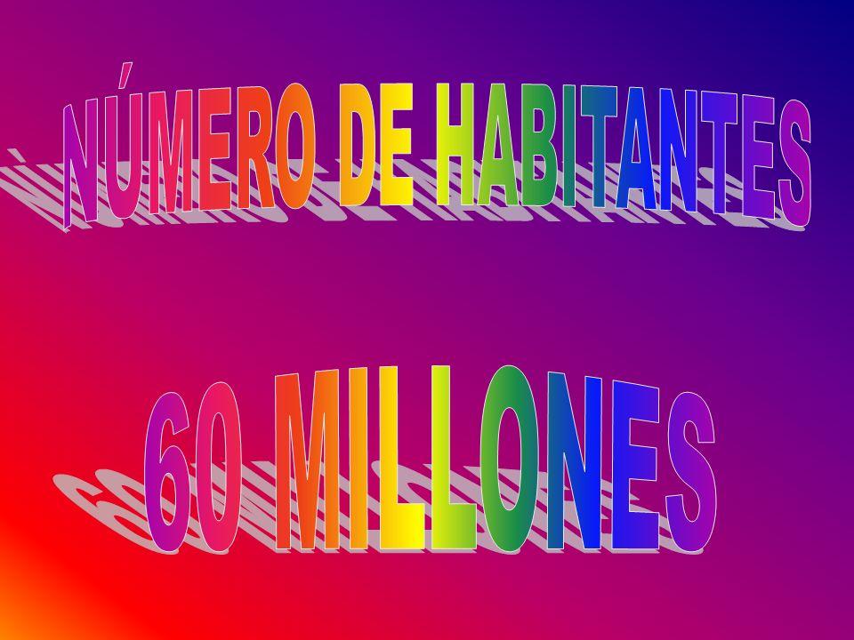 NÚMERO DE HABITANTES 60 MILLONES