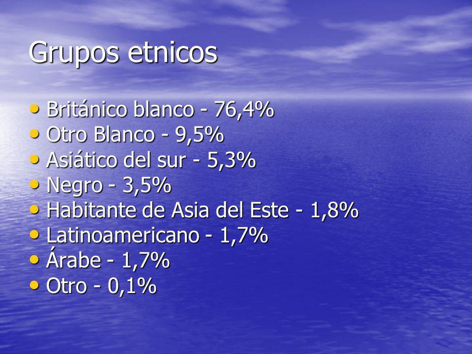 Grupos etnicos Británico blanco - 76,4% Otro Blanco - 9,5%