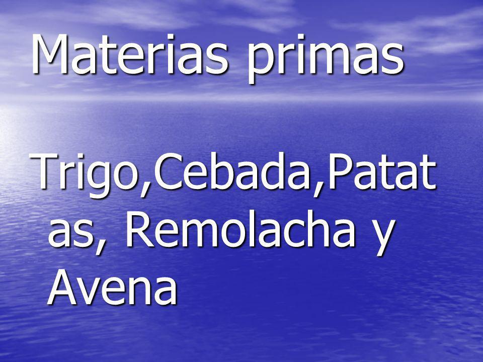 Materias primas Trigo,Cebada,Patatas, Remolacha y Avena