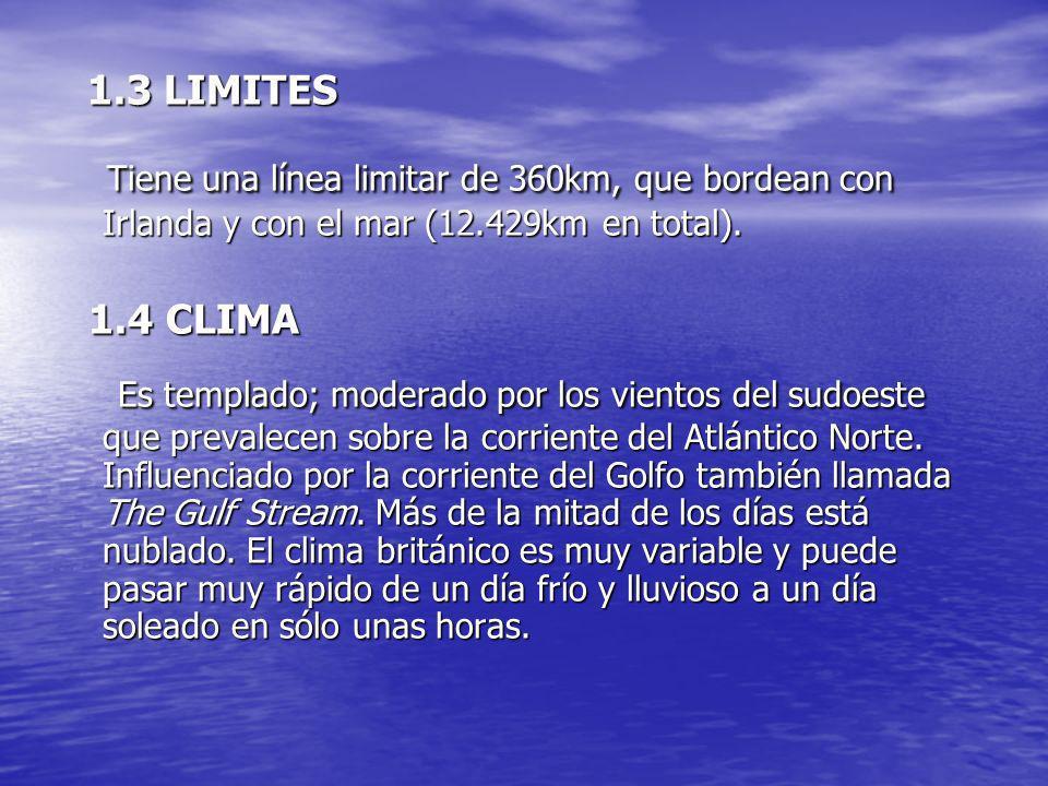 1.3 LIMITESTiene una línea limitar de 360km, que bordean con Irlanda y con el mar (12.429km en total).
