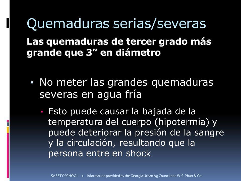 Quemaduras serias/severas Las quemaduras de tercer grado más grande que 3 en diámetro