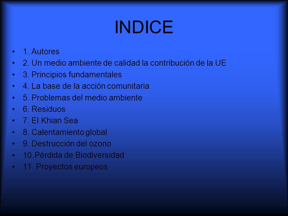 INDICE1. Autores. 2. Un medio ambiente de calidad la contribución de la UE. 3. Principios fundamentales.