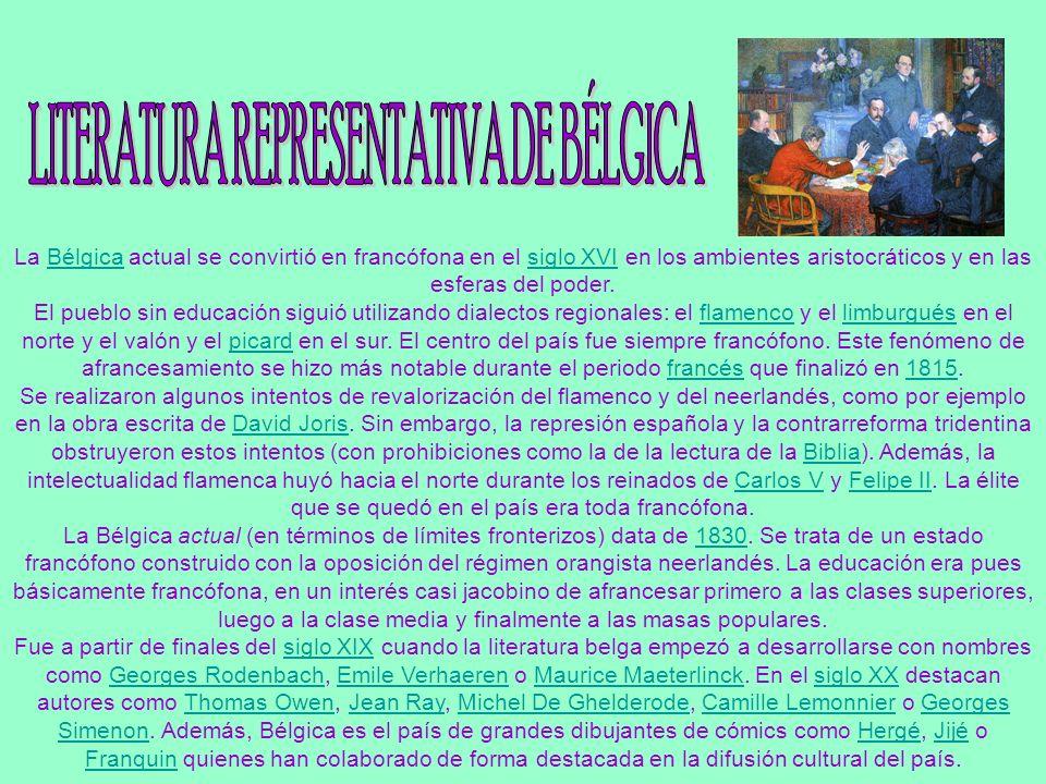 LITERATURA REPRESENTATIVA DE BÉLGICA