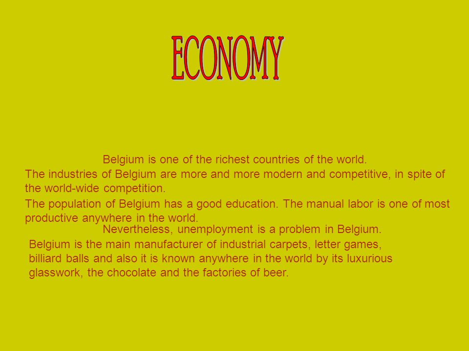 ECONOMY Belgium is one of the richest countries of the world.