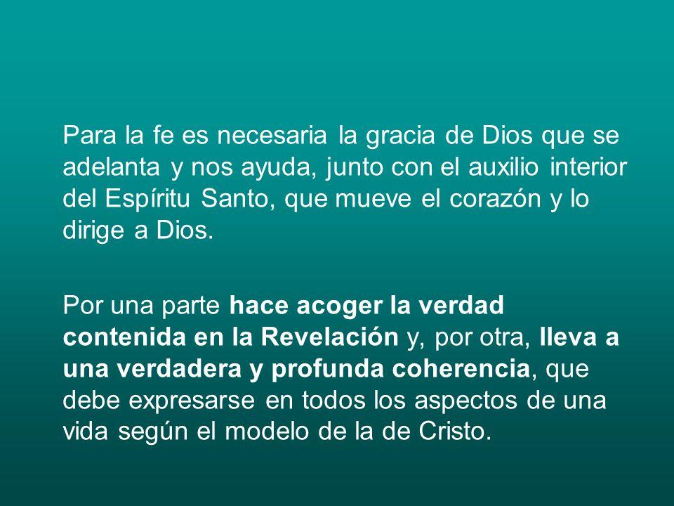 Para la fe es necesaria la gracia de Dios que se adelanta y nos ayuda, junto con el auxilio interior del Espíritu Santo, que mueve el corazón y lo dirige a Dios.