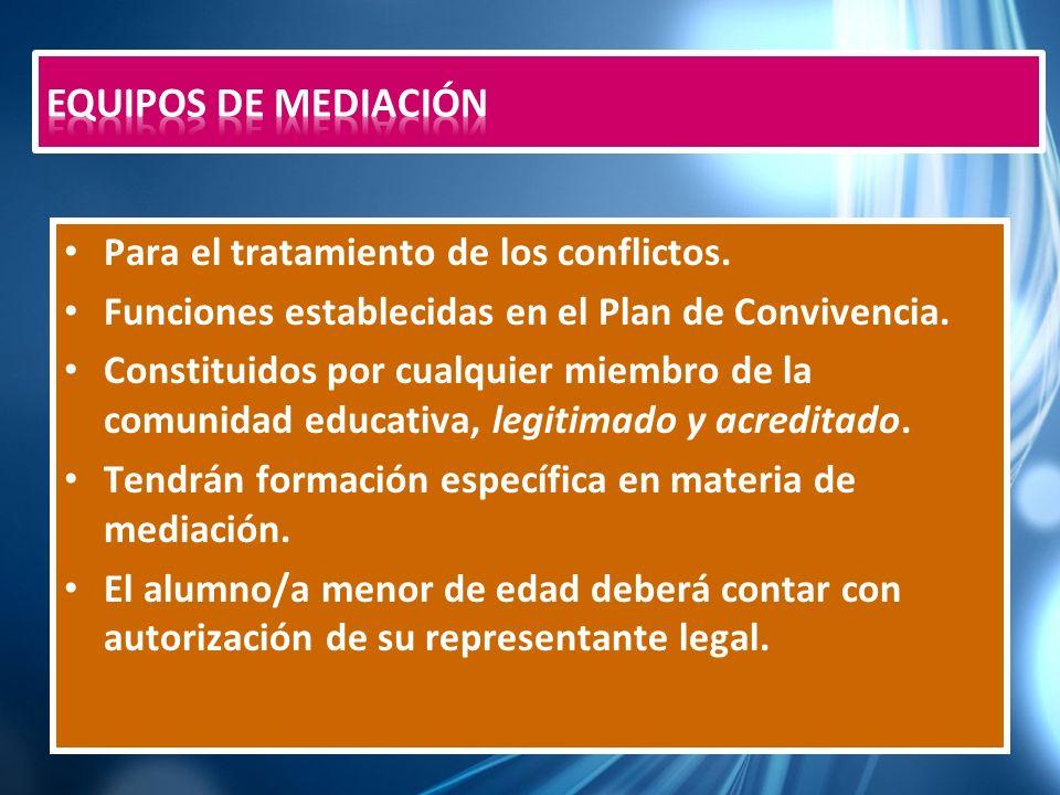 Equipos de Mediación Para el tratamiento de los conflictos.