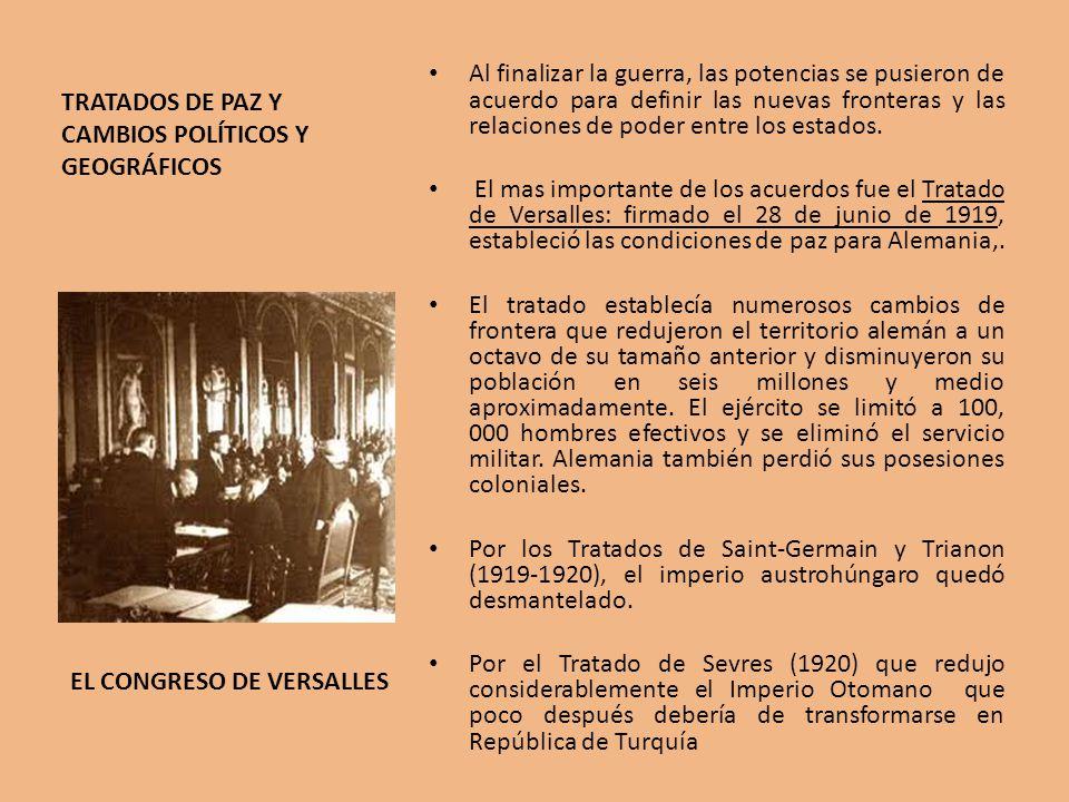 TRATADOS DE PAZ Y CAMBIOS POLÍTICOS Y GEOGRÁFICOS