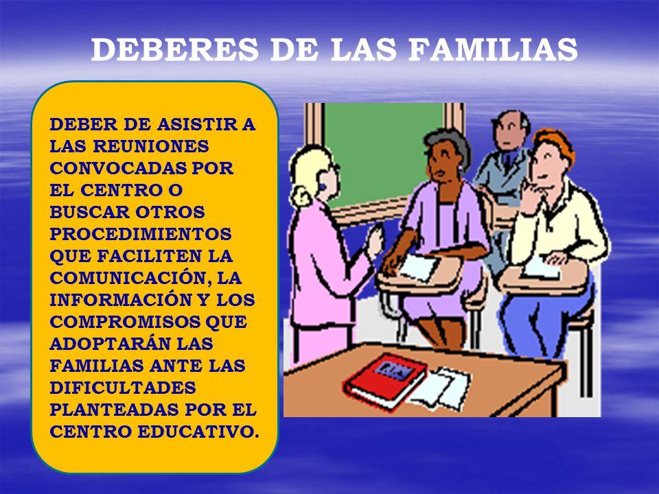 DEBERES DE LAS FAMILIAS
