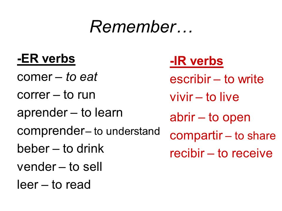 Remember… -ER verbs -IR verbs comer – to eat escribir – to write