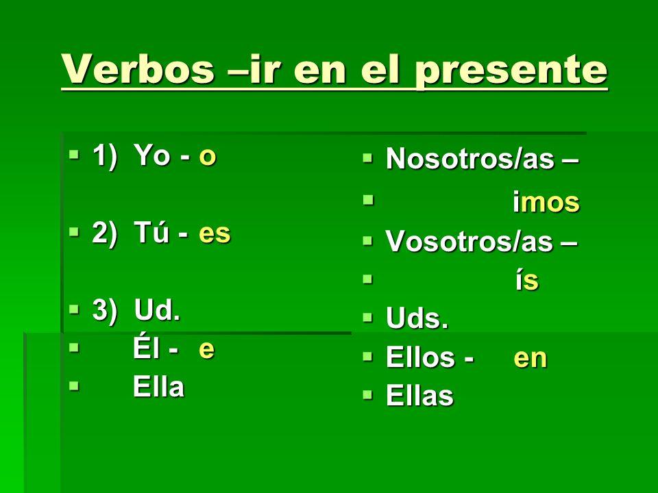 Verbos –ir en el presente